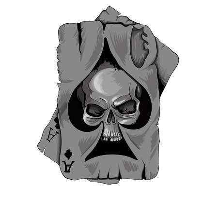 Poker card old ace of spades with skull isolated on white background