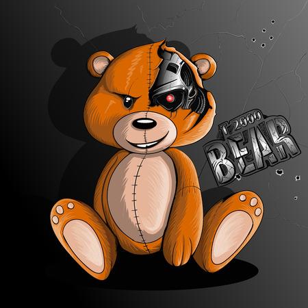 Ilustración de Bear terminator robot sits near a metal wall - Imagen libre de derechos