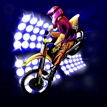 motocross on the background lights, beautiful jump to the idea, EPS 10
