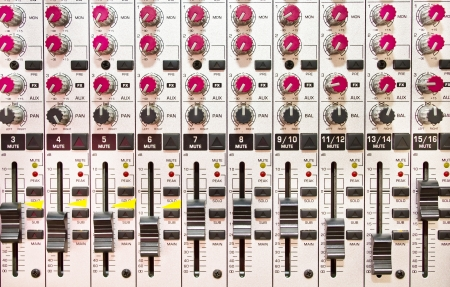 detail of music mixing console
