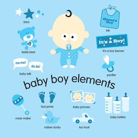 Illustration for Various vector drawings of baby boy items - Royalty Free Image