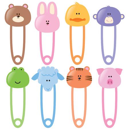 Illustration pour Baby Animal Safety Pins Set 1 - image libre de droit