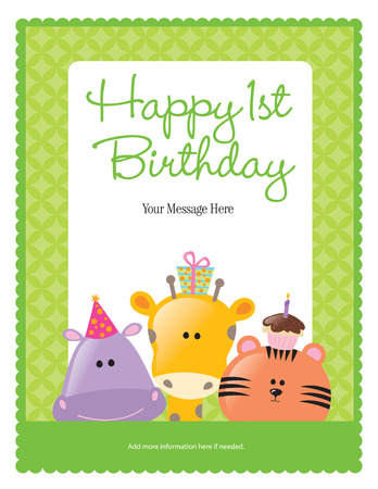 Photo for First Birthday Card with Animals (more in portfolio) - Royalty Free Image