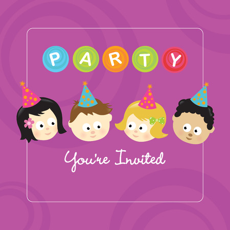 Party invitation w/ kids of different nationalities