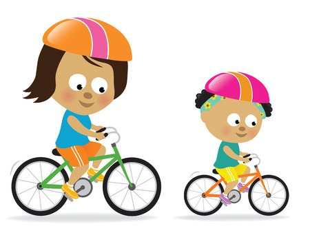 Mother and daughter biking (African American)