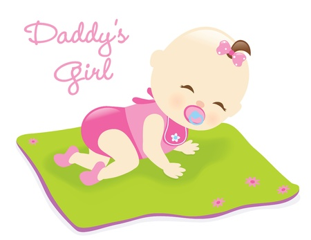 Baby girl on blanket
