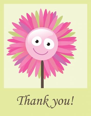 Ilustración de Flower thank you card - Imagen libre de derechos