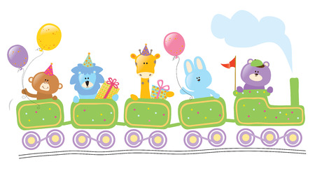 Photo for Animals riding birthday train - Royalty Free Image