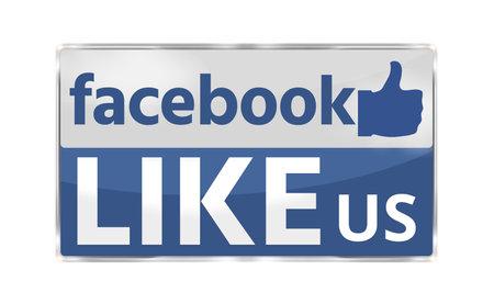 Photo pour Like Us modern blue badge button 3D render - image libre de droit