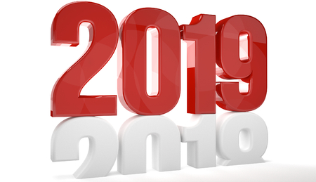 Photo pour 2019 red isolated over old 2018 3d render - image libre de droit