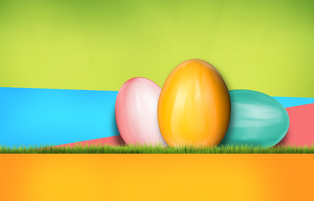 colorful easter eggs modern abstract background 3d rendering with green grass
