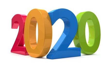 Foto de year 2020 3d rendering bold letters - Imagen libre de derechos
