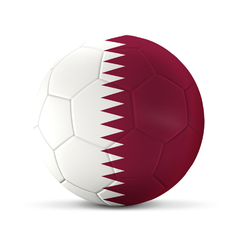 soccer ball 3d rendering Qatar flag isolated