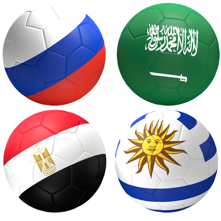 Russia Saudi Arabia Egypt Uruguay soccer ball 3d rendering