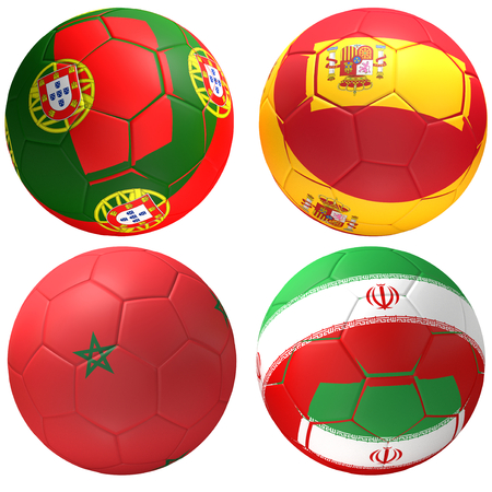 Portugal Spain Morocco Iran soccer ball 3d rendering