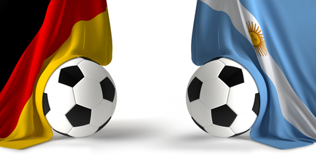 soccer balls with flags of Germany and Argentina 3d rendering isolated