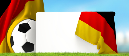 soccer ball board with flag of Germany and blades of grass at blue soccer stadium 3d rendering