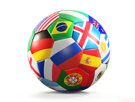 Foto de soccer ball with flags design 3d rendering isolated - Imagen libre de derechos