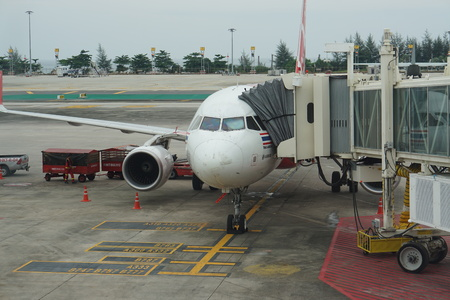 airplane boarding thailand Air Asia in Surat Thani URT