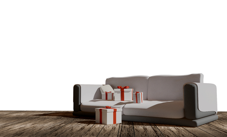 christmas gifts boxes on couch sofa 3d-illustration