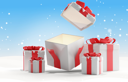 Photo for open christmas presents with snow background christmas 3d-illustration - Royalty Free Image