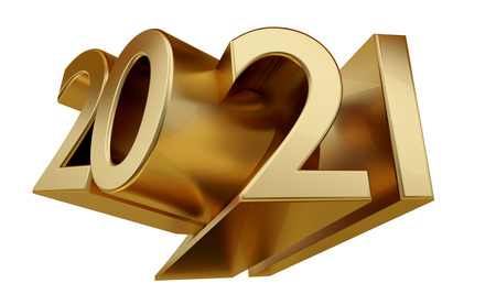Photo pour 2021 golden bold letters 3d-illustration - image libre de droit
