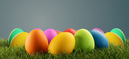 Photo for colorful Easter eggs green grass 3d-illustration - Royalty Free Image