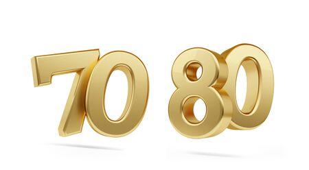Photo pour seventy eighty bold golden number 3d-illustration - image libre de droit