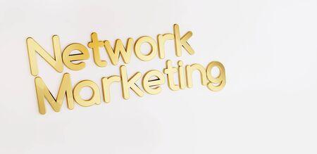 network marketing golden bold letters 3d-illustration