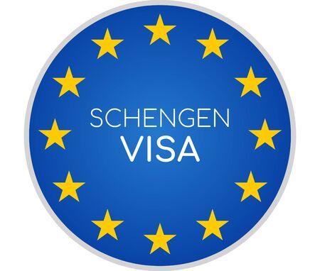 Foto de Schengen visa creative abstract symbol icon 3d-illustration - Imagen libre de derechos