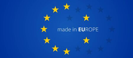 Photo pour made in Europe creative abstract stars of the flag of Europe background 3d-illustration - image libre de droit
