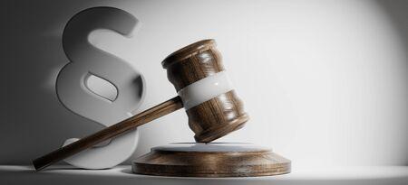 Photo pour paragraph and wooden judge gavel 3d-illustration - image libre de droit