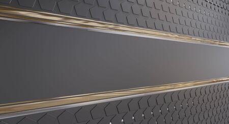 background dark and golden with pentagons design elements 3d-illustration