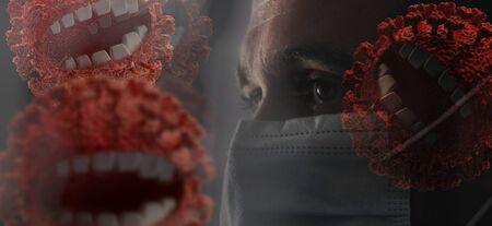young man with abstract corona virus, laughing virus. nasty and annoying Coronavirus monsters