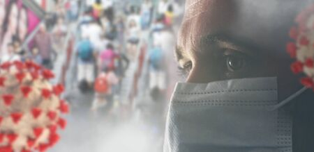 Photo for concept of corona virus with many people in the background and one in front with a mask. a European German young man, 33 years old, with face mask. 3d-illustration - Royalty Free Image