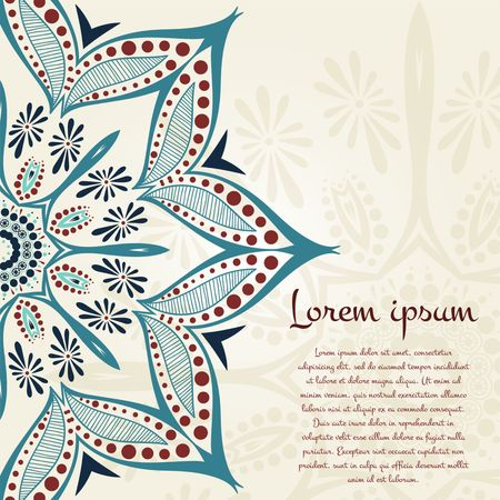 Flower circular background. A stylized drawing. Mandala. Vintage decorative elements. Islam, Arabic, Indian, ottoman motifs. Stylized flowers. Place in the text.