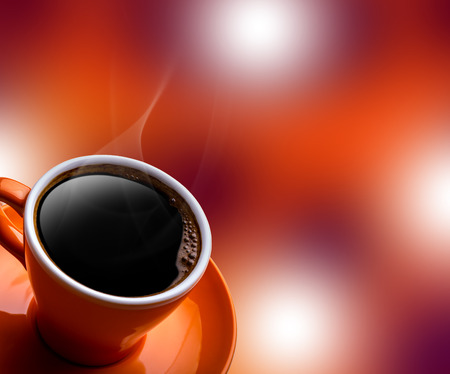Photo pour Cup of black coffee on bokeh background. Banner of a cup of coffee and a blurred background - image libre de droit