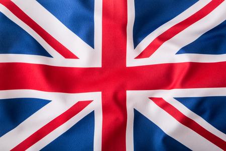 Closeup of Union Jack flag. UK Flag. British Union Jack flag blowing in the wind.