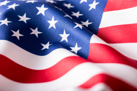 Photo pour USA flag. American flag. American flag blowing wind. Close-up. Studio shot. - image libre de droit