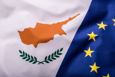 Flags of the Cyprus and the European Union. Cyprus Flag and EU Flag. World flag money concept.