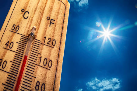 Photo for Thermometer Sun Sky 40 Degres. Hot summer day. High Summer temperatures in degrees Celsius and Farenheit. - Royalty Free Image