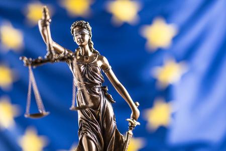 Foto de Lady Justice and European Union flag. Symbol of law and justice with EU Flag. - Imagen libre de derechos