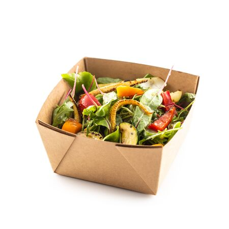 Foto für Japanese asian meal in a box of recycled paper isolated on white background. Concept of organic food packaging. - Lizenzfreies Bild