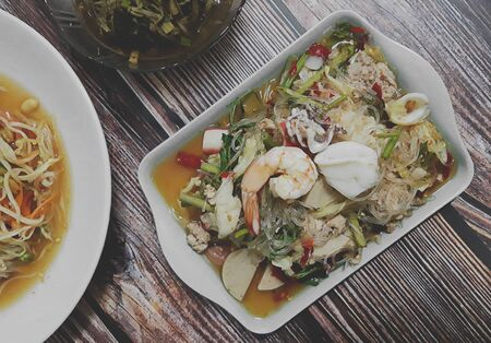Photo for Spicy mung bean seafood salad thailand food call Yum-Wun-Sen - Royalty Free Image