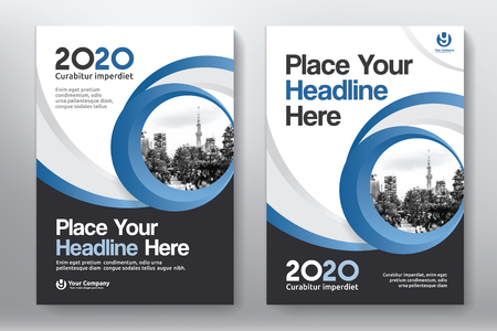 Illustration pour Blue Color Scheme with City Background Business Book Cover Design Template in A4. Easy to adapt to Brochure, Annual Report, Magazine, Poster, Corporate Presentation, Portfolio, Flyer, Banner, Website. - image libre de droit