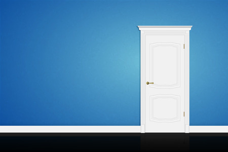Closed white door on blue wall background. Vector