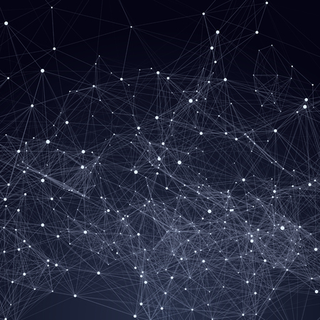 Illustration pour Abstract triangles space low poly. Dark background with connecting dots and lines. Light connection structure. Polygonal vector background. Futuristic HUD. - image libre de droit