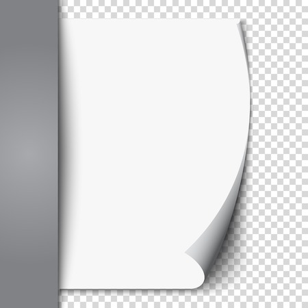 New white page curl on blank sheet isolated paper. Realistic empty folded page. Transparent design sticker. Vector background graphic illustration eps10