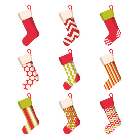 Illustration pour Christmas stocking set isolated on white background. Holiday Santa Claus winter socks for gifts. Cartoon decorated present sock. Vector - image libre de droit