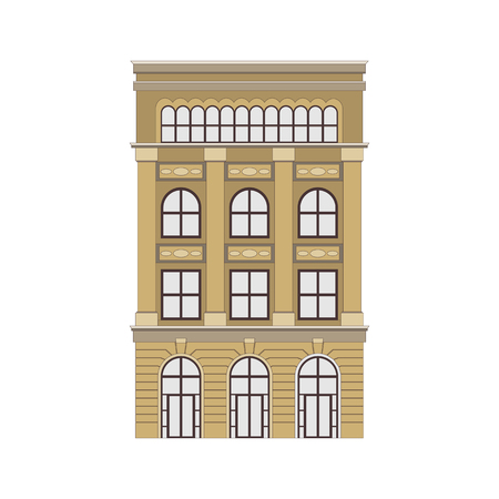 Illustration pour Beautiful detailed cityscape townhouse. Small town street with victorian building facades. Template for web, graphic, game app and motion design. Vector illustration EPS10 - image libre de droit